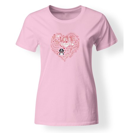 Love Hearts And  Bernese Mountain Dog T Shirt Ladies Cut Short Sleeve