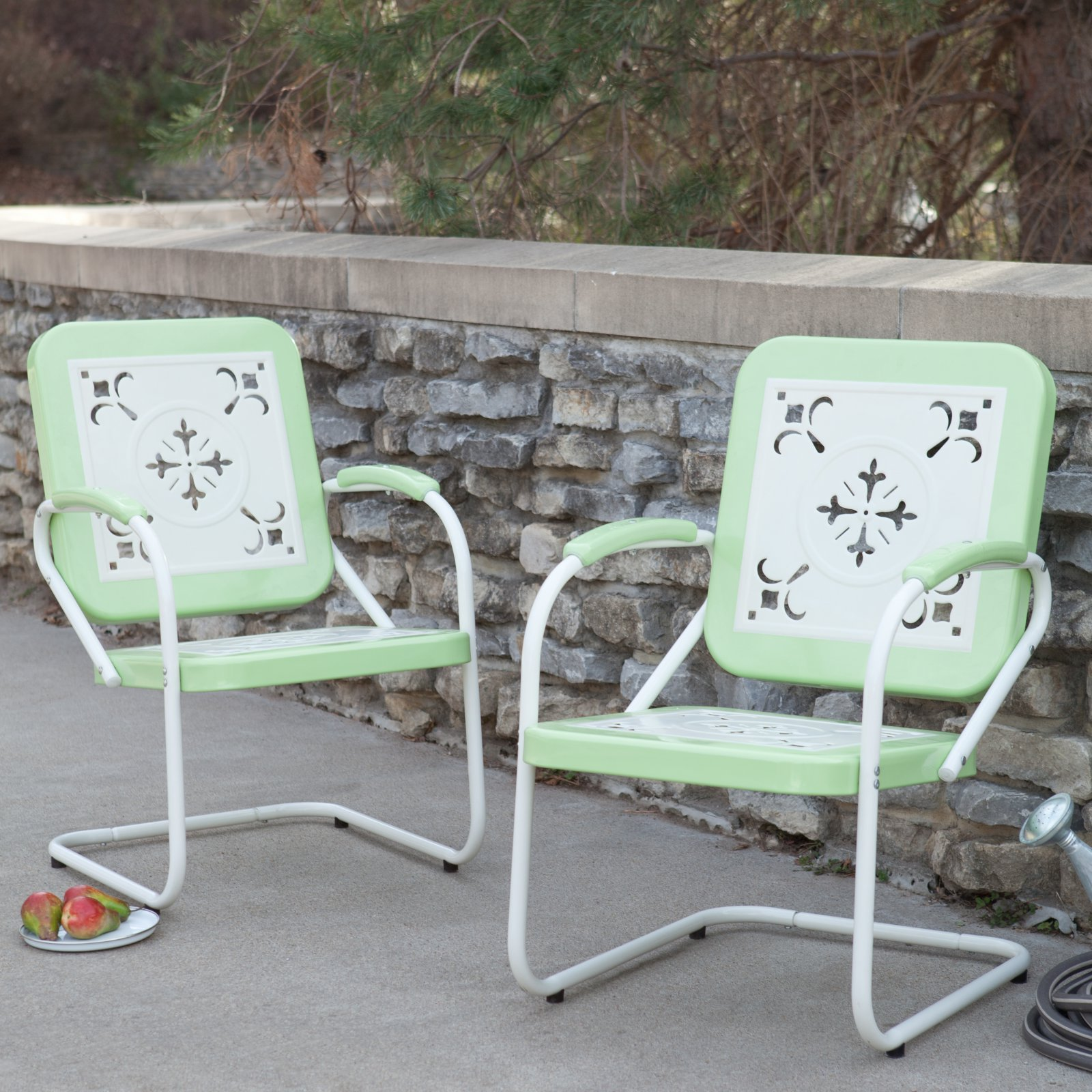 Coral Coast Paradise Cove Retro Metal Arm Chairs - Set of 2