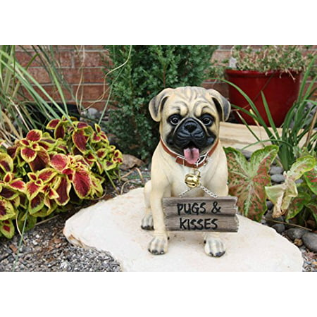 "Large Adorable Pug Dog Garden Greeter Statue With Jingle Collar 11.25"" Tall"