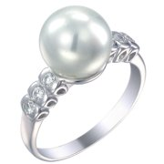 Sterling Silver in Fashion Ring (10 MM Glass Pearl)