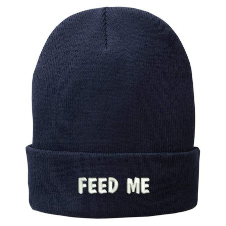 Trendy Apparel Shop Feed Me Embroidered Winter Cuff Long Beanie (Cuff Me Up)