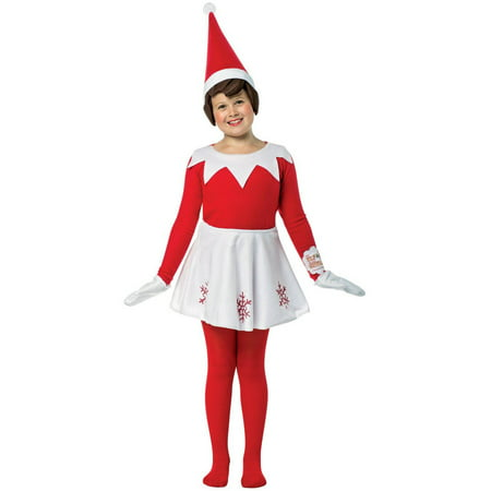 Elf on the Shelf Dress Child Halloween Costume, 1 Size - Elf Makeup Tutorial Halloween