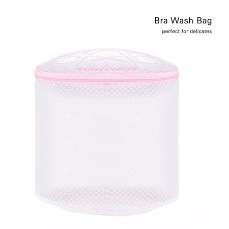 White Durable Mesh Wash Laundry Bag for Bra and Lingerie Protection Washing Drying Bag Travel Organizer with Zipper Color:White