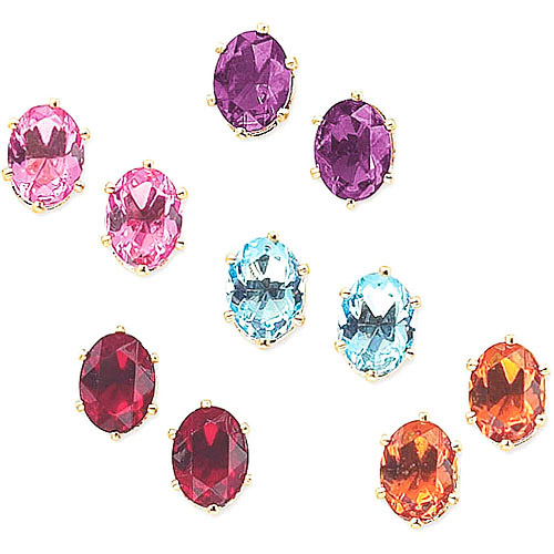 Multicolor Austrian Crystal 14kt Gold-Plated Clip Earrings, 5 Pairs