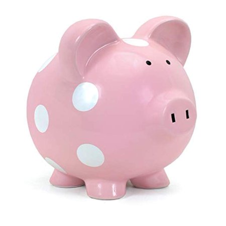 Child To Cherish - Large Piggy Bank - Pink with White Polka Dots