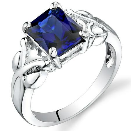 Peora 3.00 Ct Created Blue Sapphire Ring in Rhodium-Plated Sterling Silver (Sapphire Rhodium Plated)