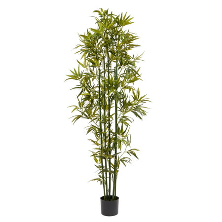Pure Garden Artificial Bamboo – Tall Faux Potted Indoor Floor Plant – Large and Lifelike (Green Trunk) 6' ()