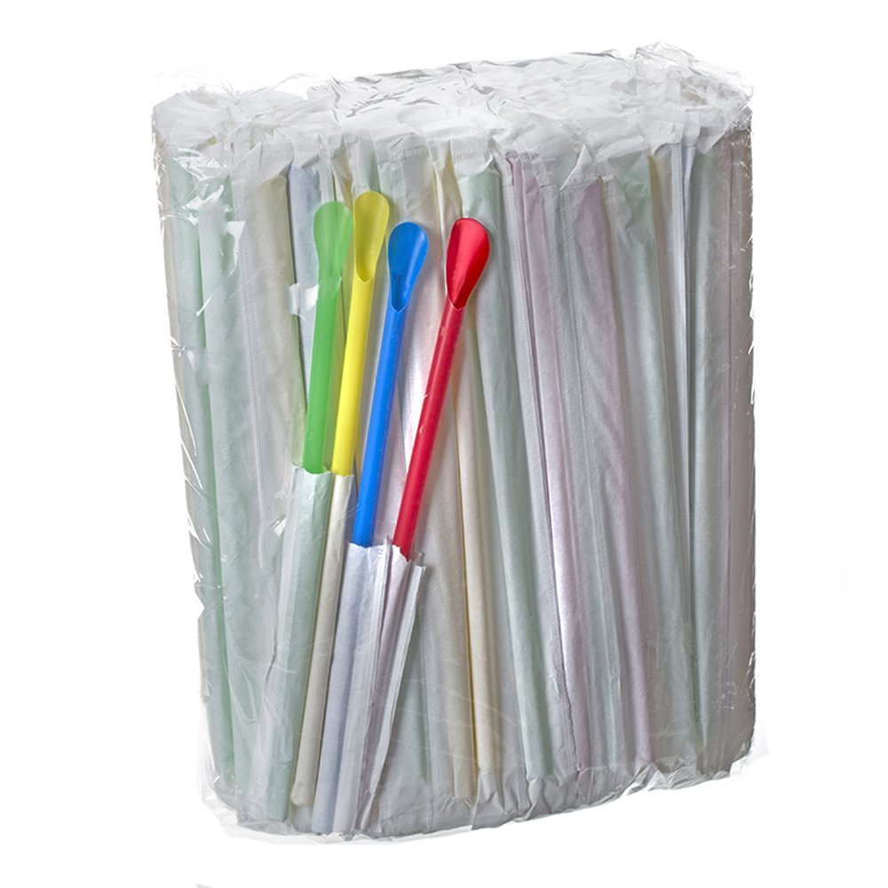 Bag of 200 Spoon Straws, Individually Wrapped, Multi Colored for Shaved Ice or Snow Cones