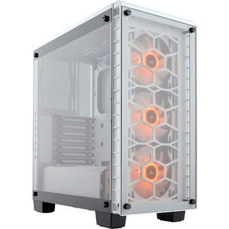 Corsair Crystal Series 460X RGB Compact ATX Mid-Tower Case - White - Mid-tower - White - Steel, Tempered Glass - 5 x Bay - 3 x 4.72