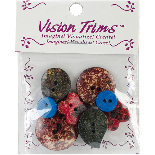 Handmade Bone Buttons 8/Pkg-Marbleized Stone Look Multi-Colored