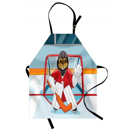 Hockey Apron Cartoon Style Beaver Plays as a Goalkeeper Fun Activity for Kids Theme Animal Mascot, Unisex Kitchen Bib Apron with Adjustable Neck for Cooking Baking Gardening, Multicolor, by Ambesonne - Hockey Themed Gifts