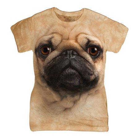 The Mountain Tan Cotton Pug Face Design Novelty Parody Womens T Shirt New