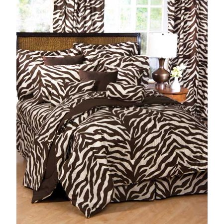 Image of Brown Zebra Print Bed In A Bag Set