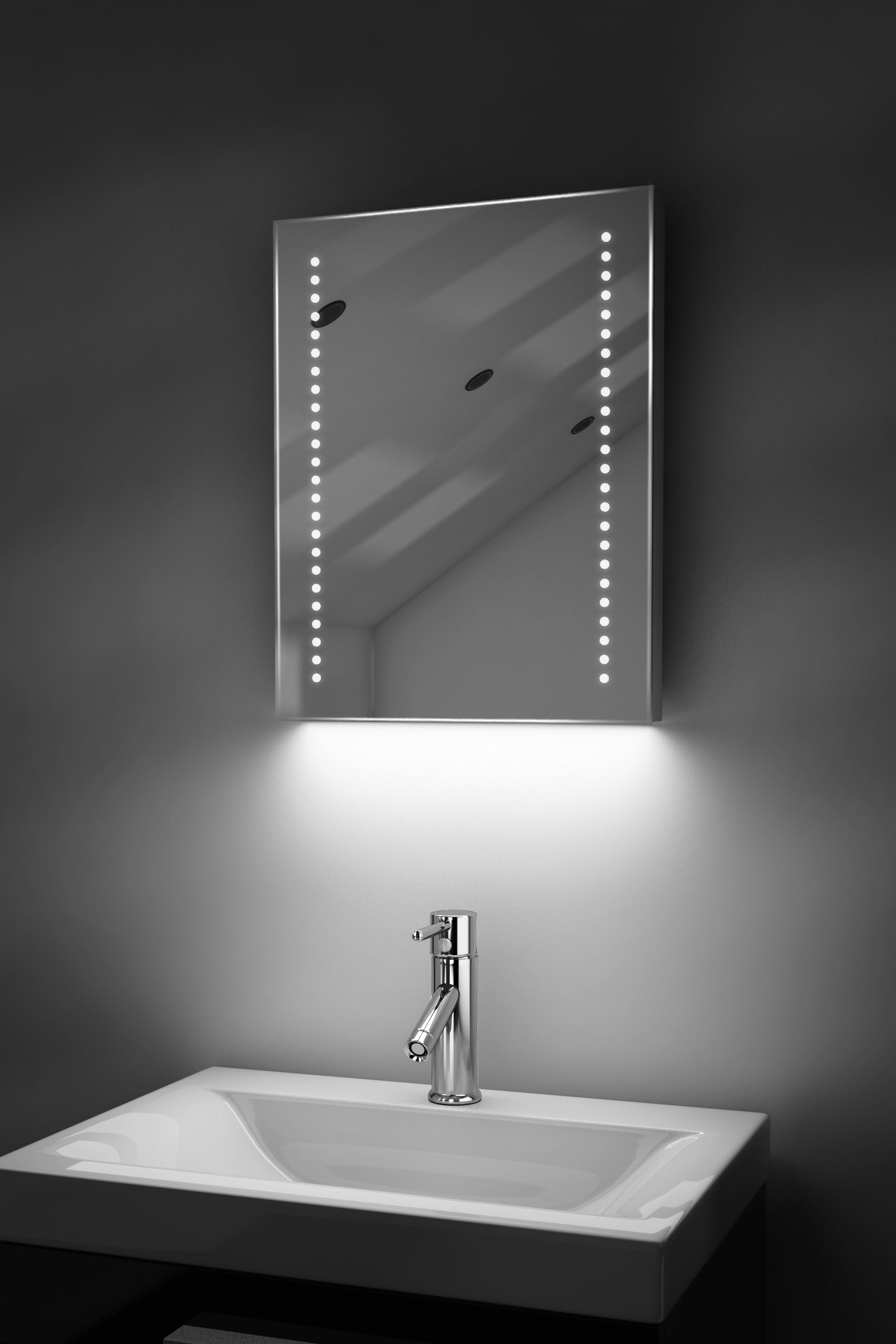 Auto Colour Change Rgb Shaver Bathroom Mirror With Demister & Sensor K36Srgb by Powerful Vision Ltd.