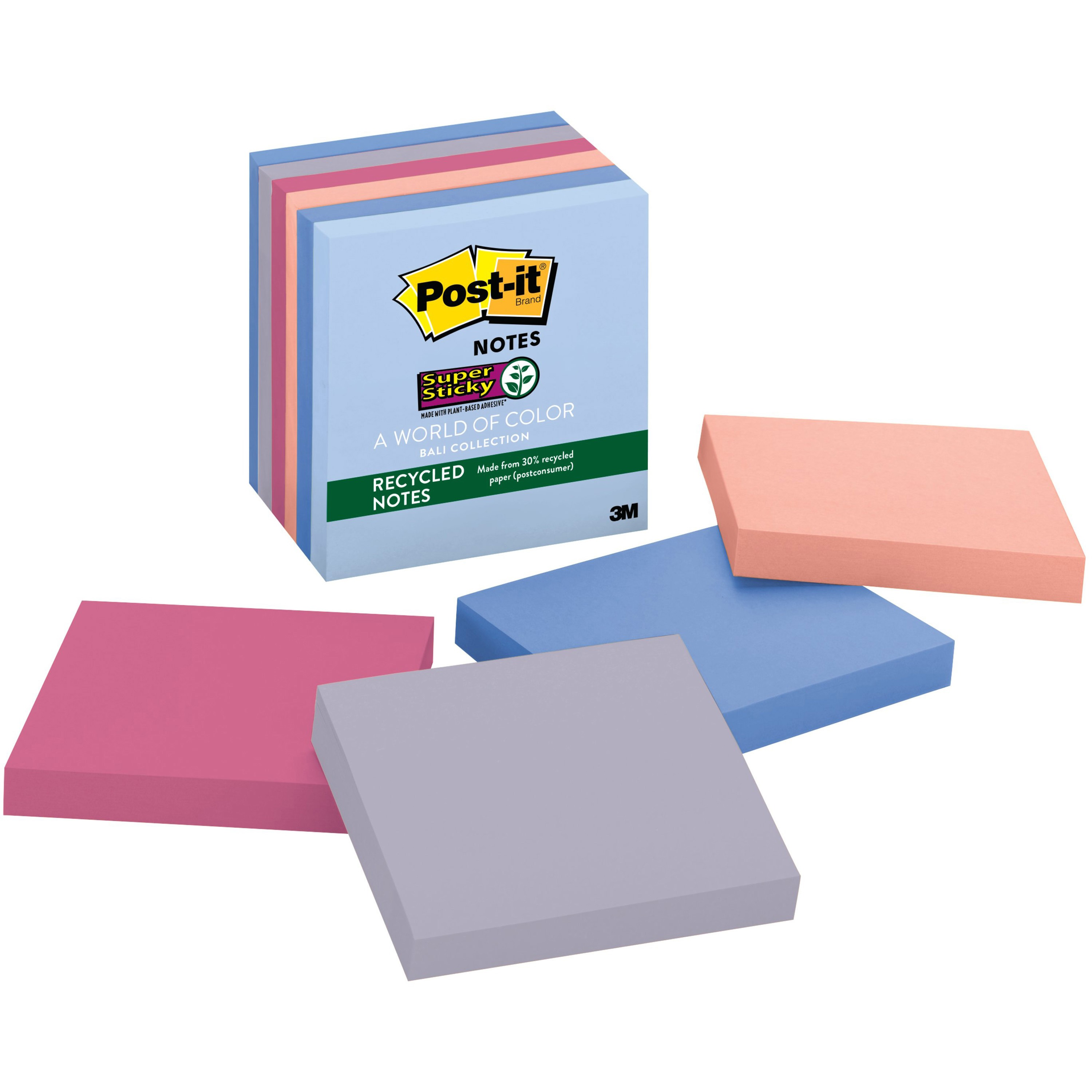 Post-it Greener Super Sticky Recycled Notes 6 Pack, Bali Collection