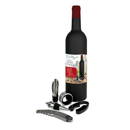 Foil Cutter Corkscrew (LE REGALO 6PC WINE TOOL SET INCLUDES STOPPER, POURER, WINE DRIP RING, FOIL CUTTER AND CORKSCREW BOTTLE OPENER IN WINE BOTTLE SHAPE STORAGE)