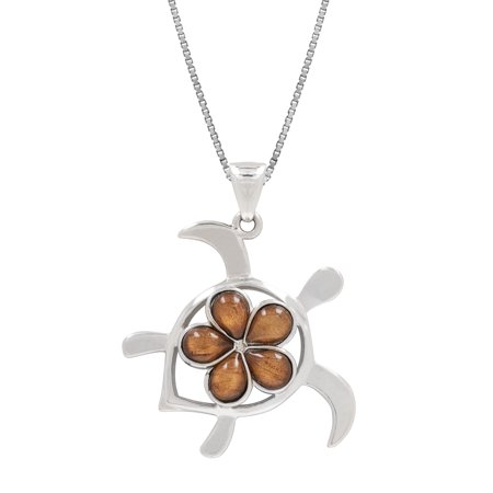 Sterling Silver Koa Wood Turtle with Plumeria Necklace Pendant with 18