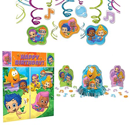 Bubble Guppies Party Decoration Supplies Pack - Scene Setter, Table Decorating Kit, and Hanging Swirls](Rainbow Table Decorations)