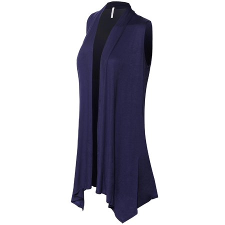 Made by Olivia Women's Lightweight Sleeveless Draped Open Front Cardigan Vest Navy Blue L