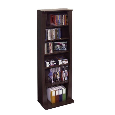"Atlantic 43"" Canoe Multimedia Bookcase Storage Shelf (231 CDs, 115 DVDs, 140 BluRays)"
