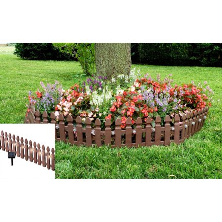 Eco-friendly Solar Powered Plastic Garden Edging Border Fence Panel Set of - Flower Garden Border