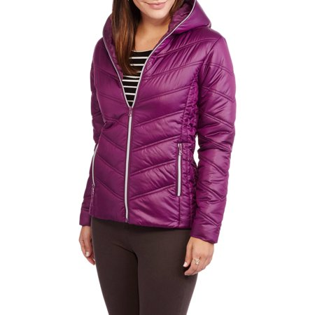 d91aaa2651a52 Climate Concepts - Women's Hooded Chevron Quilted Jacket - Walmart.com