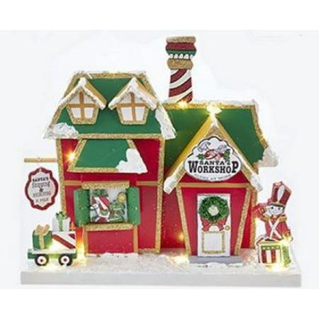 Santas Workshop North Pole Building Lighted Wood Christmas Figurine 9.75 (Sanita Wood)