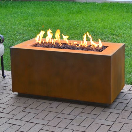 - The Outdoor Plus Corten Steel Propane Fire Pit Table - Walmart.com
