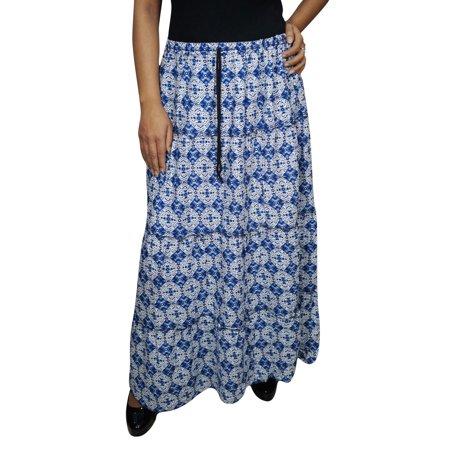 306a0748663317 Mogul Interior - Mogul Womens Blue Maxi Skirt Printed Cotton Blend ...
