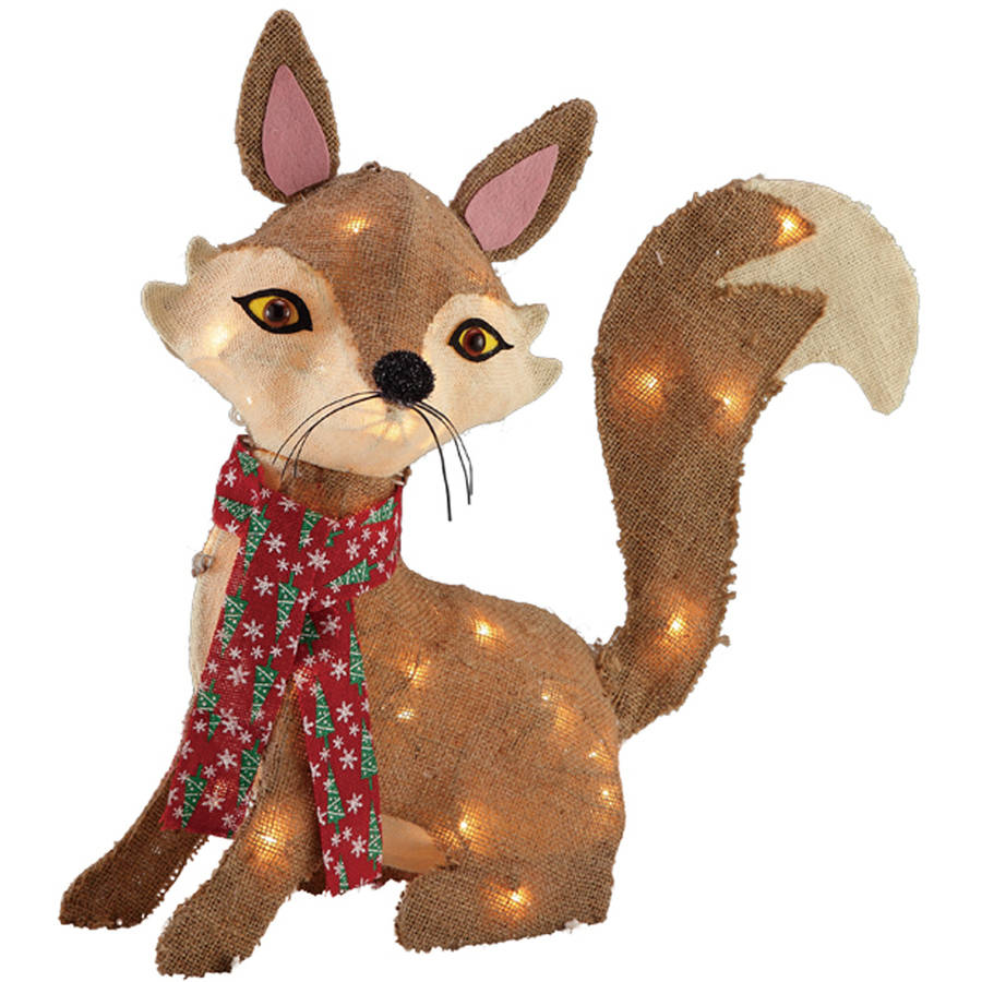 holiday time christmas decor 24in burlap fox with 35 clear lights walmartcom - Burlap Outdoor Christmas Decorations