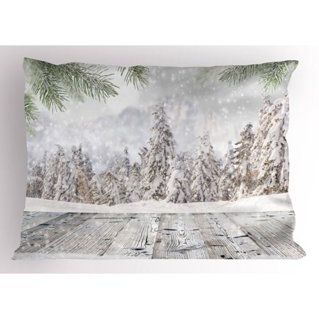- Winter Pillow Sham Abstract Christmas Theme with Snow Covered Forest and Wooden Surface Image, Decorative Standard Size Printed Pillowcase, 26 X 20 Inches, Green White Beige, by Ambesonne