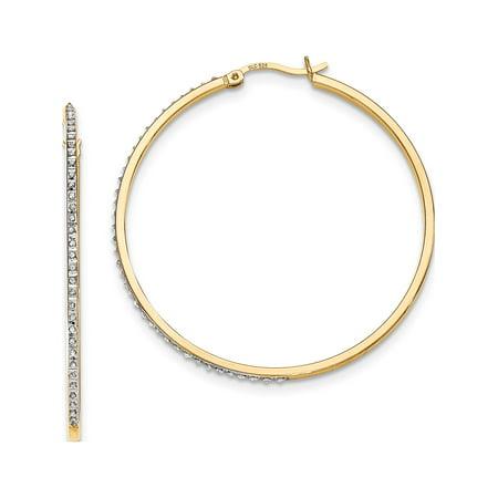 925 Boucles d'oreilles en argent sterling et -plated diamant Mystique Hoop Round (1x47mm) - image 2 de 2