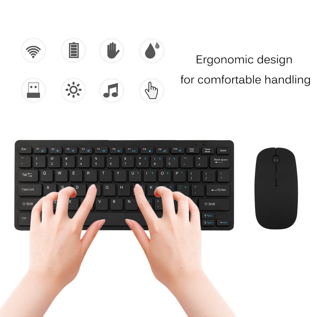 Media USB Ergonomic Wireless Connectivity Combo Home Office Desktop Computers Optical Keyboard And Mouse Set Black, Black