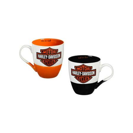 Harley Davidson Shot Mug (Harley-Davidson Two Ceramic Cups O'Java Gift Set, 18 oz. Black & Orange 3MCF4900, Harley)