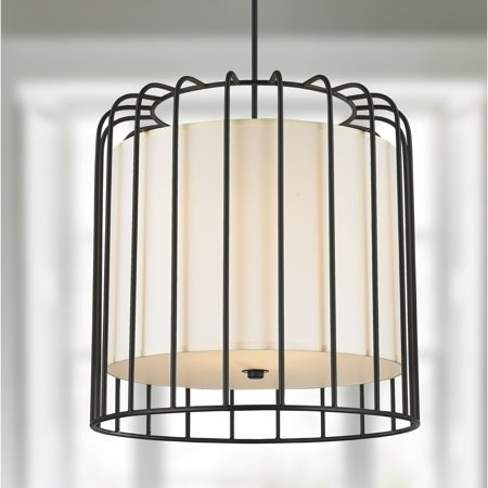 Brilliance Lighting and Chandeliers Cage Collection 9 Light Metal Cage Pendant Light in Matte Black Finish with Ivory Shade D24