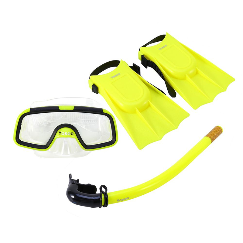 Children Snorkeling Set, Diving Kids Goggles Flippers Snorkel Set, Lightweight Comfortable Toddler Learn Swimming Training Breathing Set, Mask + Snorkel + 1 Pair Fin