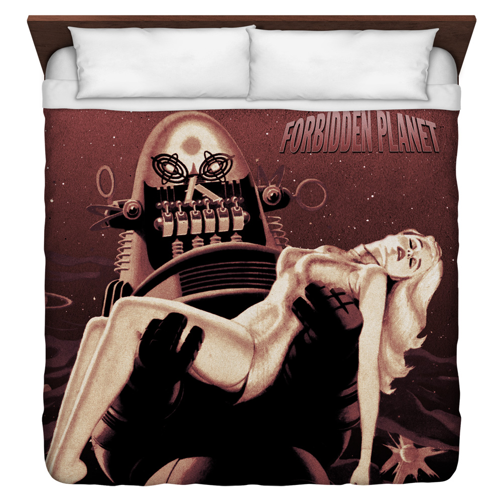 Forbidden Planet Poster King Duvet Cover White 104X88