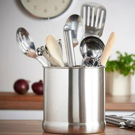 VonShef 7'' Stainless Steel Kitchen Utensil Holder - Burlap Utensil Holder