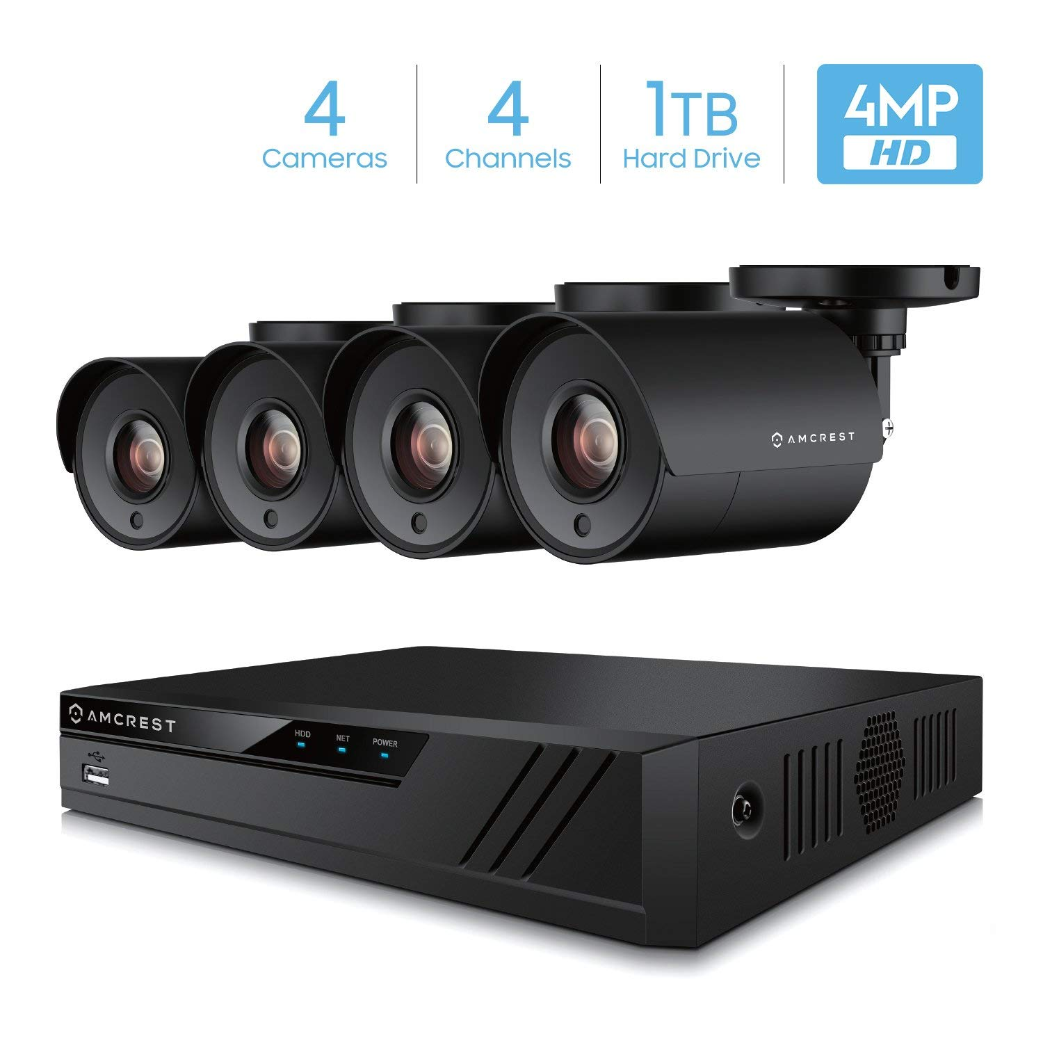 Amcrest UltraHD 4-Megapixel 4CH Video Security System with Four 4.0MP Outdoor IP67 Plastic Bullet Cameras, 98ft Night Vision, Pre-Installed 1TB Hard Drive, (AMDV40M4-4B-B)