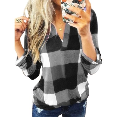 Plus Size New Fashion V Neck Plaid Pullover Tops Bouse For Women Autumn Winter Thin Casual Loose Long Sleeve Shirt Blouse Bottom Tops New Ladies Celebrity Fashion