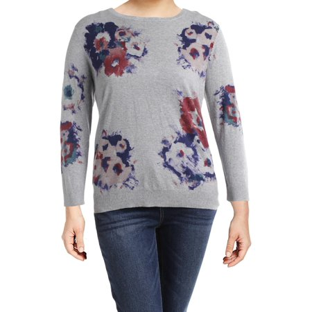 Lauren Ralph Lauren Womens Plus Mellery Heathered Watercolor Pullover Sweater