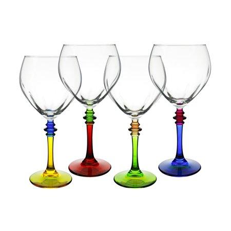 """Multi-color 8"""" Italian Wine Glasses 4-Piece Set"""