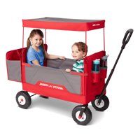 Radio Flyer, 3-in-1 All-Terrain Folding Wagon with Canopy, Red