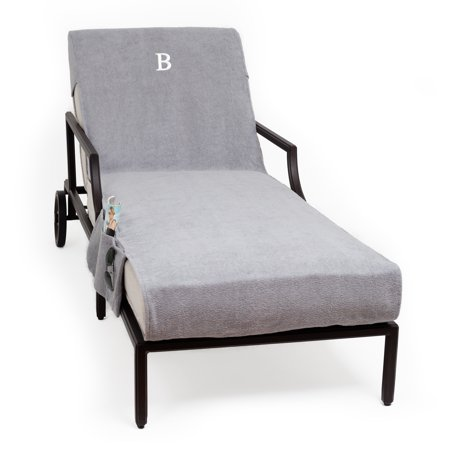 Miraculous Authentic Turkish Cotton Monogrammed Grey Towel Cover With Pocket For Standard Size Chaise Lounge Chair Ocoug Best Dining Table And Chair Ideas Images Ocougorg