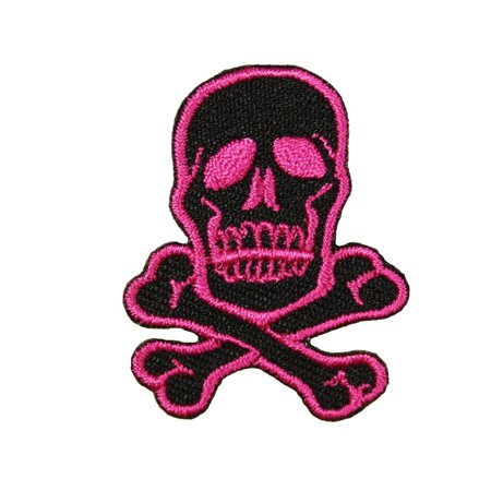 1 1/2 INCH Skull Crossbones Neon Pink On Black Patch Dangerous Iron On Applique (Neon Skull And Crossbones)