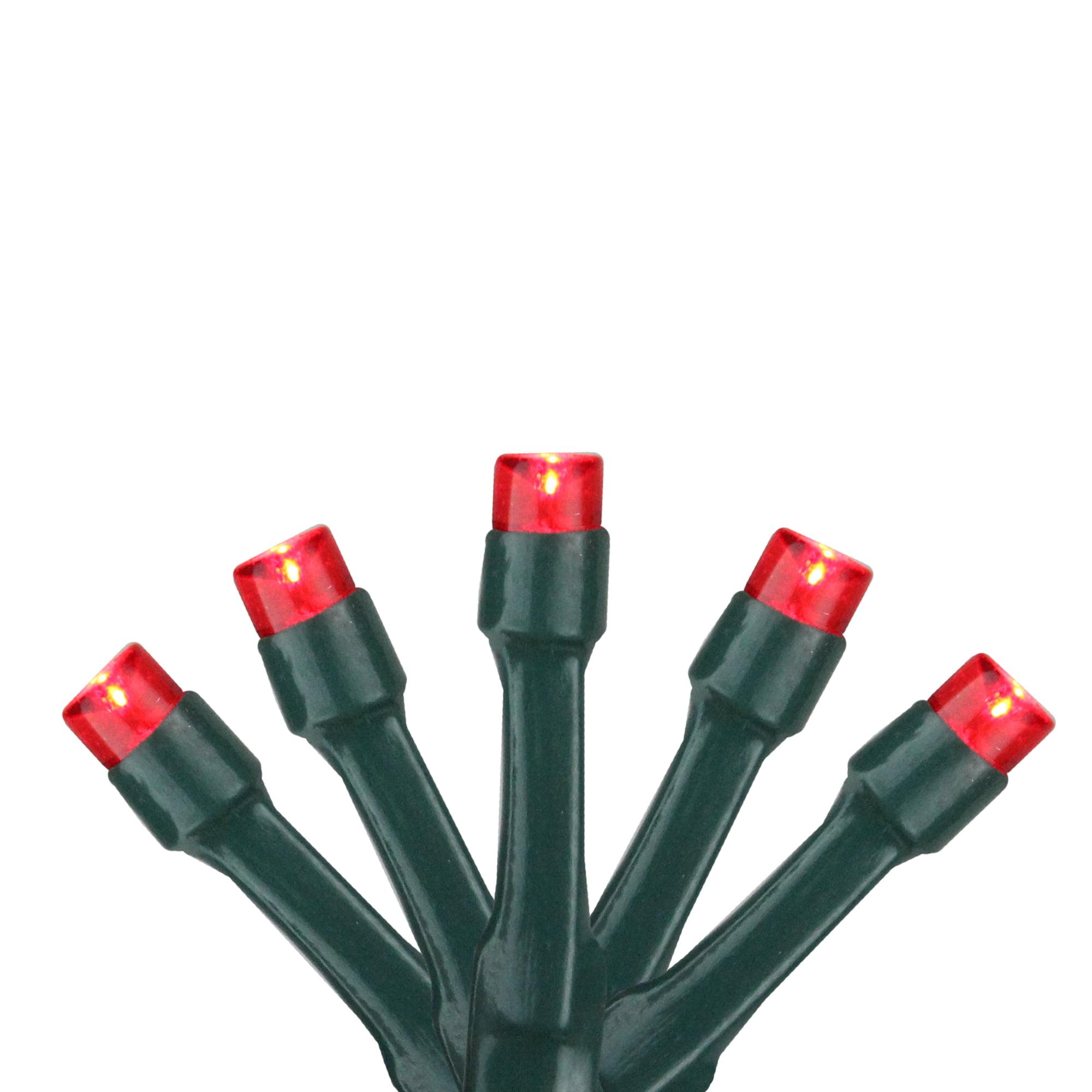 Ensemble de 20 LED rouge à pile grand angle lumières de Noël - Fil vert - image 1 de 1