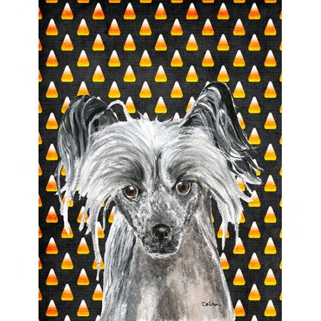 Caroline's Treasures Chinese Crested Halloween Candy Corn 2-Sided Garden Flag