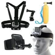 Self Head Chest Wrist Mount Monopod Accessories Set Kit For GoPro