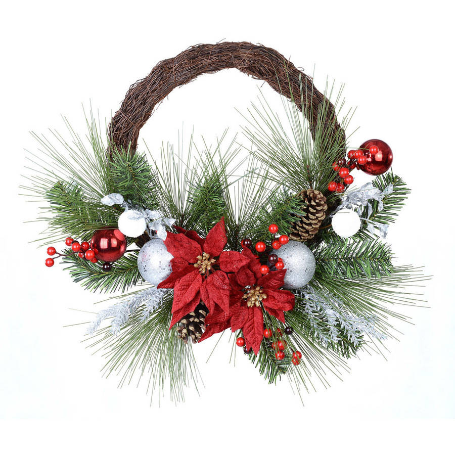 Holiday Time Poinsettia/Berry Half Wreath