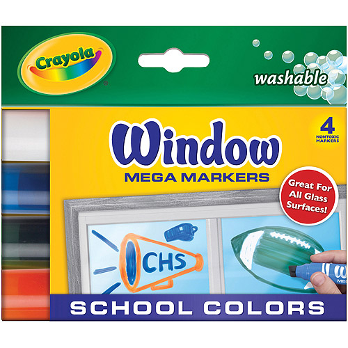 Crayola Washable Window Mega Markers, School Colors, 4-Pack